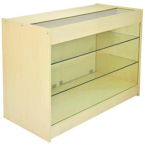 MonsterShop K1200 Abschließbarer Vitrinenschrank aus Glas, für Ladentresen, Ahorn, 120 x 90 x 60 cm