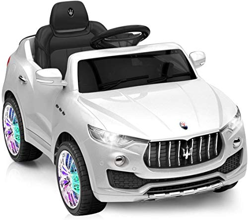 HONEY JOY Ride On Car, Licensed Maserati Battery Powered Vehicle for Kids, Parental Remote Control & Manual Modes, 3 Speeds, Swing Function, Bluetooth, USB, MP3, Horn, Music, LED Lights (White)
