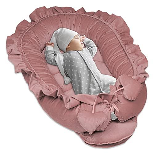Juego de cuna para recién nacidos – nido para bebé, terciopelo (rosa, 90 x 50 cm)