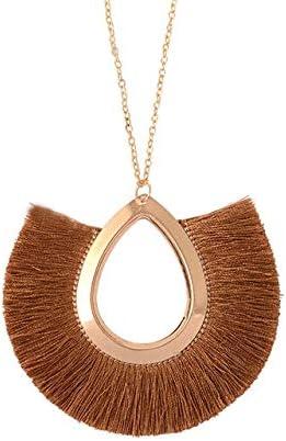 Davitu Long Fringe Tassel Necklace for Women Pendant Necklace Summer Fashion Boho Big Bohemian Jewelry Collar Collier Femme - (Metal Color: Brown)