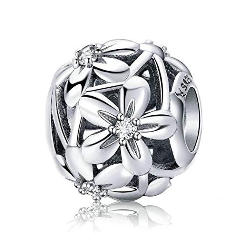FeatherWish - Charm in argento Sterling 925 con zirconia cubica, per braccialetti Pandora e collane con ciondoli europei da 3 mm