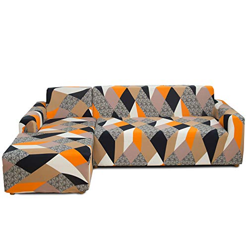 Feilaxleer Funda Sofa Chaise Longue Elástica Brazo Izquierdo/Derecho,Funda para Sofá en Forma de L (3 Plazas +2 Plazas,C)