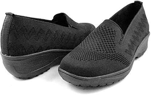 Laforst Lyn 3203 Womens Woven Upper Slip Resistant Waitress Server Slip On Heeled Black Loafer, 6.5