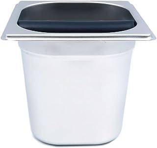 ANCLLO Boîte à café de 15 cm en acier inoxydable avec poignée pour machine à expresso et seau à café (carré)