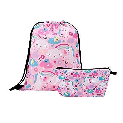 2 piezas de almacenamiento, mochila de almacenamiento y monedero, conjunto de unicornio con impresión de unicornio 3D, paquete espacioso, paquete pequeño (estilo 7, rosa)