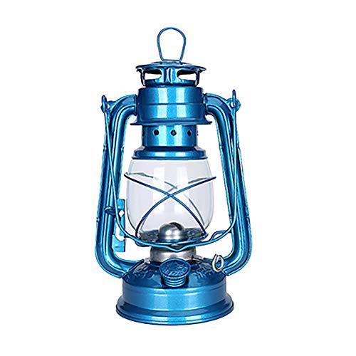 N / A Lampe à pétrole rétro Hurricane Oil Lamp Lanterne brûle - Structure en Fer - Lampe décorative à pétrole - pour extérieur et Camping(Bleu)