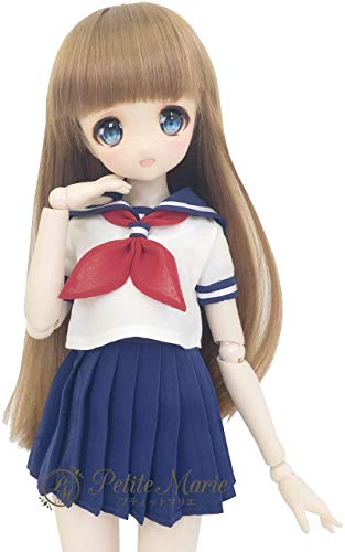 Petite Marie Japan for 1/4 Doll 16 inch 40cm MDD (Mini Dollfie Dream) MSD BJD Cute Schoolgirl Sailor Suit Short Sleeves Summer Pleated Skirt (Blue) [No.0076] Clothes Only not Include Doll