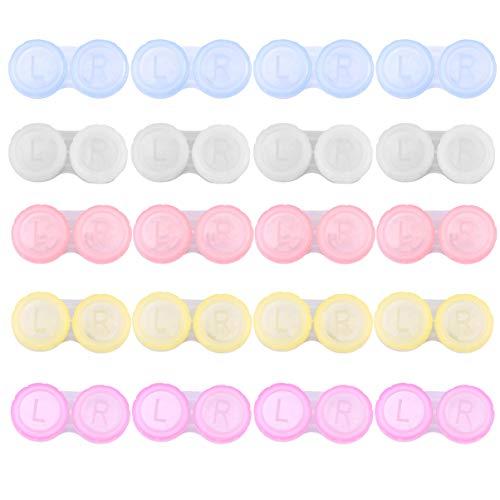 ROSENICE Estuche para lentes de contacto Caja de lentes de contacto de viaje 20pcs (Colores Surtidos)