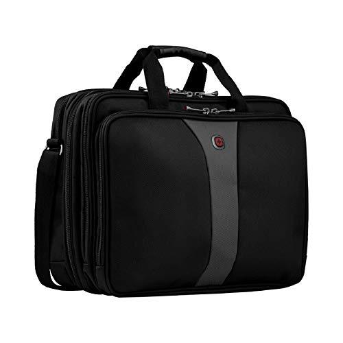 Wenger Legacy Aktentasche, Laptoptasche zum Umhängen, Notebook bis 17 Zoll, 19 l, Damen Herren, Büro Business Uni Schule, Schwarz/Grau