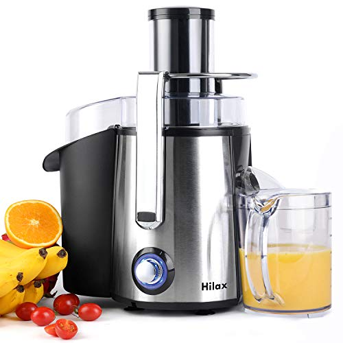 Juicers, Centrifugal Juicers Machine, Juice Extractor with LED Light, 3 inch Feed Chute 2 Speed Mode, One Button Control Easy to Clean, Stainless Steel Power Juicer Maker for Vegetables Fruits, Silver