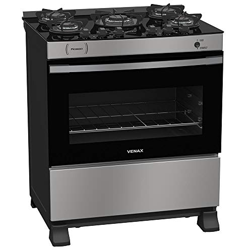 Fogao A Gas Picasso Vitreo 5 Q Inox Gás Glp