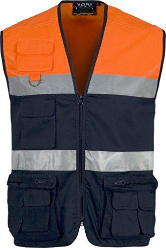 Work Team Chaleco Tipo Safari Multibolsillos Bicolor, con Dos Cintas de Alta Visibilidad. Hombre Marino+naranja A.v. M