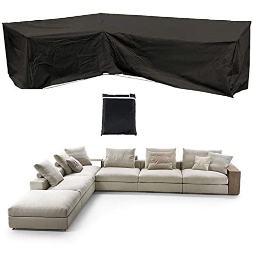 HMHMVM Gartenmöbel Eck Sofa Protector Cover, L/V-förmige Patio Sofa Couch Cover, 420D Polyester wasserdicht, mit Aufbewahrungstasche