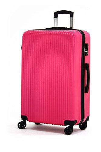 スーツケース 超軽量 TSAロック搭載 【一年修理保証】 堅牢ABS+軽量PCボディ シボ加工仕上げ 8輪ダブルキャスター ファスナータイプ s型国内・国際線機内持込可 (4色3サイズ) suitcase (M, マゼンタピンク)