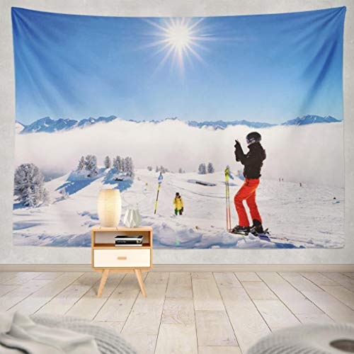 Geericy Skiing Snow Landscape Tapestry, Wall Hanging Tapestry February Woman Cloud Blue Cable December Village Family Wall Tapestry Dorm Home Decor Bedroom Living Room in 80X60 Inch,February Woman