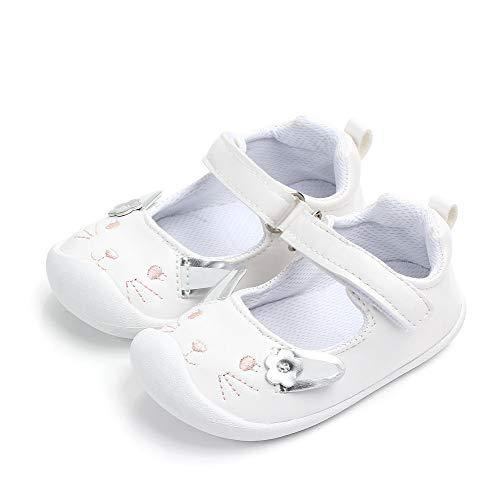 LACOFIA Baby Mädchen Ballerinas Kleinkind Klettverschluss rutschfest Lauflernschuhe Hase Weiß 22