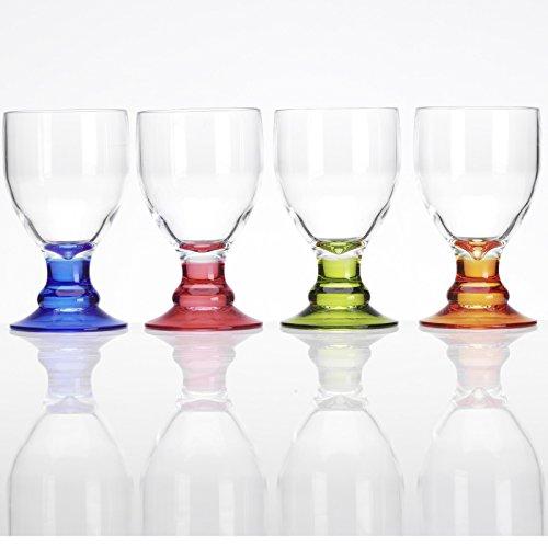 Acryl Weinglas 4X 410 ml bunt Camping Gläser Zubehör Trink Glas Kunststoff Kelch Trinkkelch Goblet Rotwein Acrylglas Partyglas Wasserglas Bruchfest Trinkbecher Becher Whiskyglas bruchfest leicht Wein