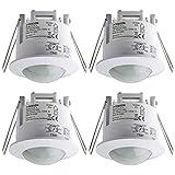 SEBSON® Detector de Movimiento Empotrable, Interior, Montaje en Techo, programable, Sensor de Infrarrojos, Alcance 6m / 360°, LED Adecuado