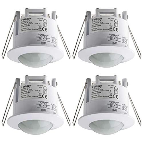 SEBSON® 4X Detector de Movimiento Empotrable, Interior, Montaje en Techo, programable, Sensor de Infrarrojos, Alcance 6m / 360°, LED Adecuado