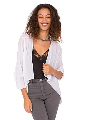 likemary Damen Bolero Schulterjäckchen aus Chiffon - Durchscheinend - ¾ Kurzarm - Vielseitig kombinierbare Jacke - Passt zu Abendkleid, Alltagskleidung als hauchdünne Jacke Weiß 38 (UK 12)