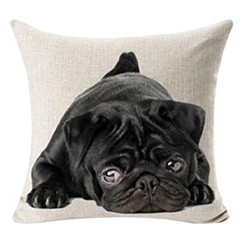 Gemini_mall Printed Dog Pug Elk Cat Anchor Linen Cushion Cover Throw Pillow Case - 2