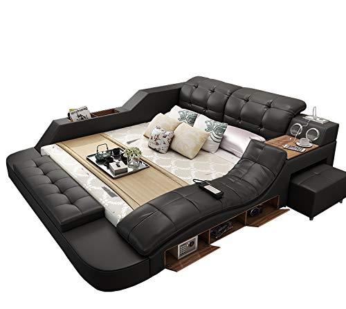 Its-Me Doppel Bett|200/180|Echt Leder|Massagefunktion|Bettkasten|Blue Tooth Doppellautsprecher|LED-...