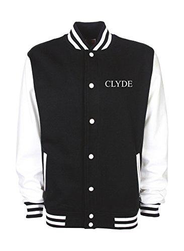 Ann Susan College Jacke vorne Bestickt mit Clyde und hinten Bedruckt mit Clyde Unisex, oder individuell gestaltbar