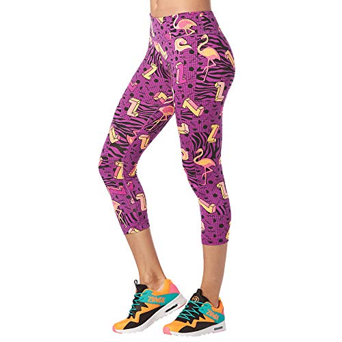 Zumba Dance Capri Leggings Estampados Fitness Entrenamiento Mallas de Deporte de Mujer, Power Purple, XXL