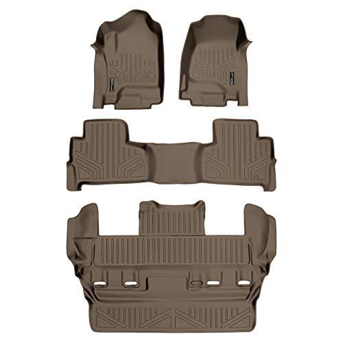 SMARTLINER Custom Fit Floor Mats 3 Row Liner Set Tan for 2015-2019 Chevrolet Tahoe/GMC Yukon