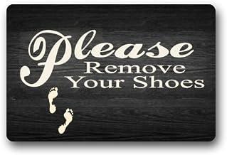 """Custom Decorative Door Mat Please Remove Your Shoes Floor mat Machine-wahable Indoor/Outdoor Doormat (23.6""""(L) x15.7(W))"""