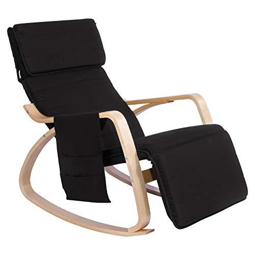 WOLTU® Schaukelstuhl SKS02sz Relaxstuhl Sessel Schaukelsessel Schwingsessel 5-Fach verstellbares Fußteil mit Seitentasche Leinen Holz Schwarz