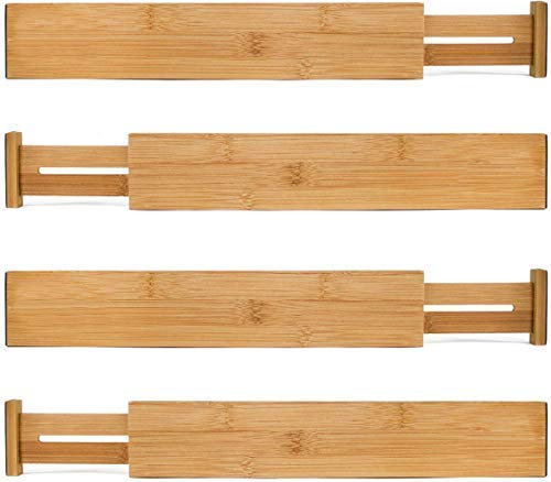 COLSEN Bamboo Drawer Dividers Kitchen Organizer - Spring Adjustable & Expanding - Best for Kitchen, Dresser, Bedroom, Baby Drawer, Bathroom, and Desk. (Set of 4)
