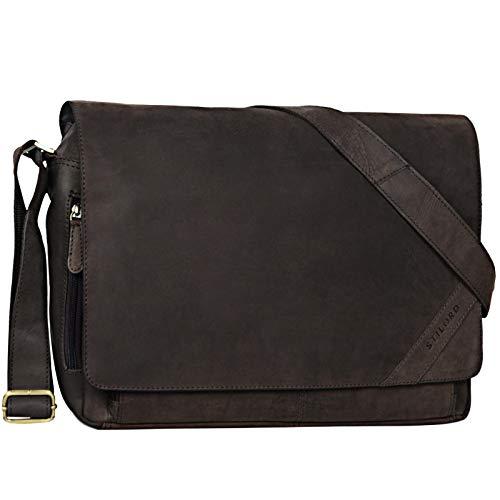 STILORD \'Nick\' Umhängetasche Leder Herren Damen Unitasche 15.6 Zoll Laptoptasche Aktentasche Bürotasche Vintage Büffel-Leder, Farbe:matt - Dunkelbraun