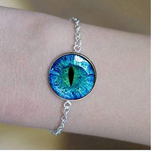 Pulseras con diseño de ojo de dragón azul, ojo de animal y ojo de gato
