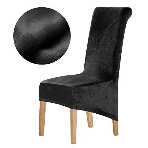 1 Pieza cubiertas de la silla de terciopelo Tela Europa largas de alta Rey Volver cubierta de la silla del asiento restaurante Hotel banquete del partido ( Color : Black , Specification : XL Sizes )
