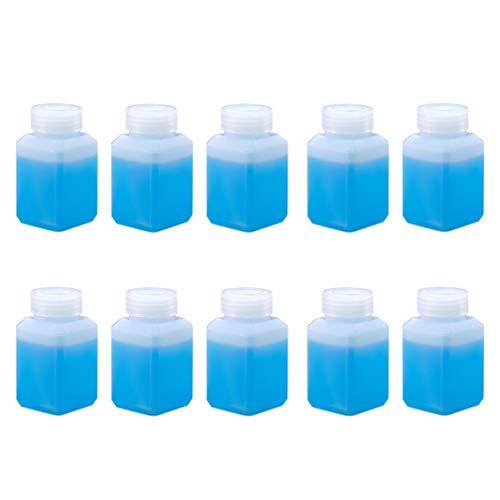 EXCEART 10 Piezas Botellas Cuadradas de Plástico Vacías Botellas de Boca Estrecha Botellas de Bebidas de Jugo Envases Recargables Botellas de Subenvasado para Reactivo Líquido 60 Ml