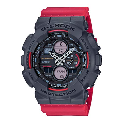 CASIO Herren Analog – Digital Quarz Uhr mit Resin Armband GA-140-4AER