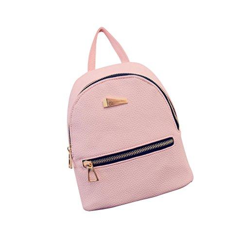 OULII Mini Rucksack Leder mit Reißverschluss Damen modische kleine Daypack Schultasche Mädchen (Rosa)