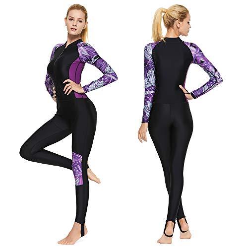 Full Body Scuba Rash Guard Lycra Dive Skin UV Swimwear Sport Skins for Men Women, Long Sleeve One Piece Front Zipper Diving Wetsuit for Surfing Swimming Snorkeling Canoeing (Women's Purple, XL)