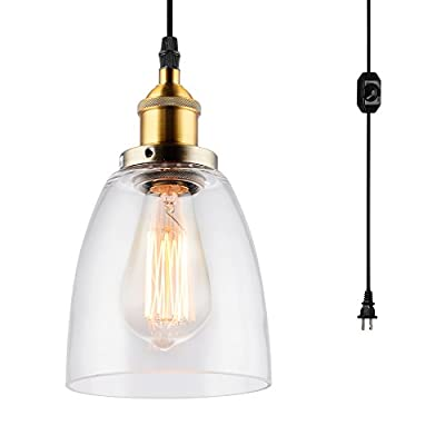 HMVPL Glass Hanging Lights with Plug in Cord and On/Off Dimmer Switch, Updated Industrial Edison Vintage Swag Pendant Lamps for Kitchen Island or Dining Room