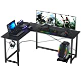 ASTARTH L Shaped Desk, 66' Corner Gaming Desk, Computer Desk, L Desk, Home Office Desk with Round Corner with Large Monitor Stand Workstation, Sturdy Writing Study Table, Space-Saving, Black