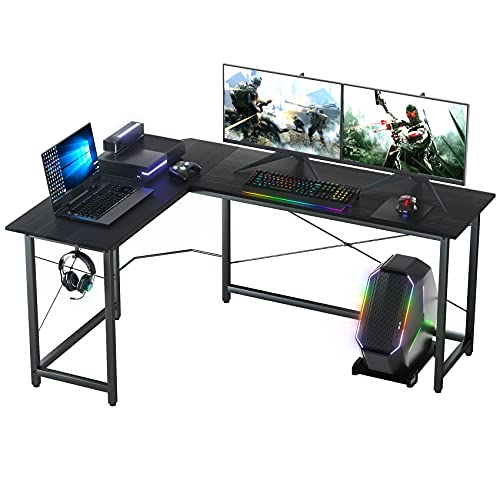 ASTARTH L Shaped Desk, 66  Corner Desk, L Shaped Gaming Desk, L Desk, Home Office Computer Desk with Round Corner with Large Monitor Stand Workstation, Sturdy Writing Study Table, Space-Saving