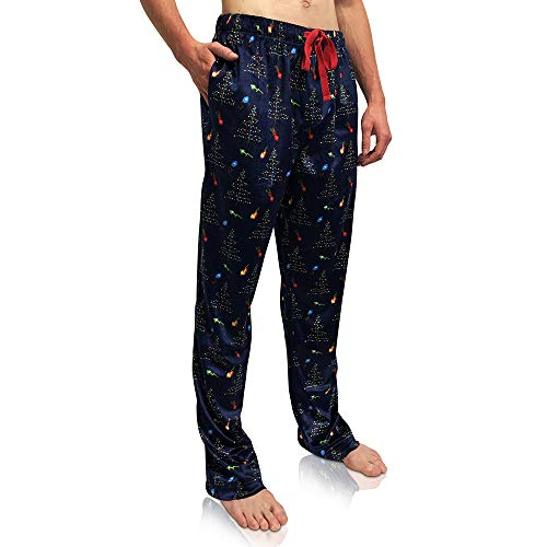 Bottoms Out Comfortable Silky Christmas Holiday Mink Fleece Pajama Bottoms Fleece Sleep PJ Lounge Pants for Men (S, Blue/Lights)
