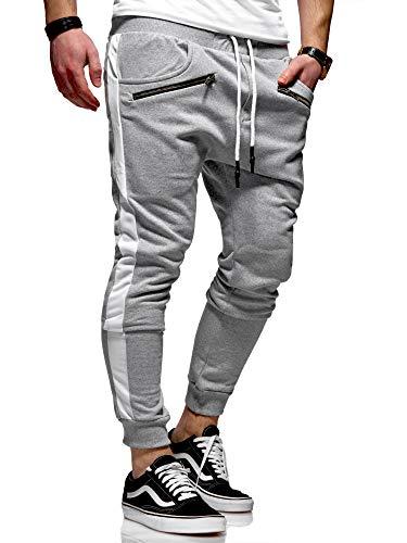 behype. Herren Lange Trainingshose Jogging-Hose Sport-Hose Zipper Side-Stripe 60-0361 Hellgrau M