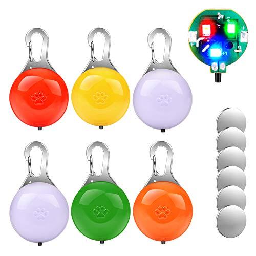 morpilot Collar LED Luz Perro, 6PCS Luces de Seguridad Coloridas para Perros y Gatos, Collar Luminoso Perro Impermeable, Colgante Luz Perro LED Noche con 3 Modos de Parpadeo (6 Baterías Adicionales) ✅