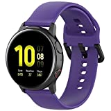 Fit for Samsung Galaxy Watch Active 2 Watch Bands, 20mm Silicone Quick Release Replacement Band Straps Wristbands Fit for Garmin Vivoactive 3 Music Women Men (Purple, Small)