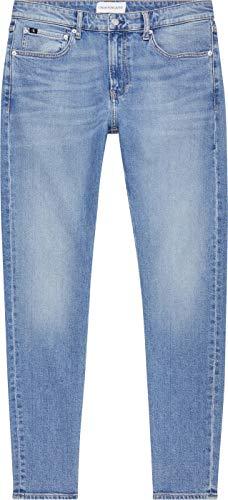 Calvin Klein Jeans Slim Taper Pantalones, Luz Vaquera, 32W / 32L para Hombre