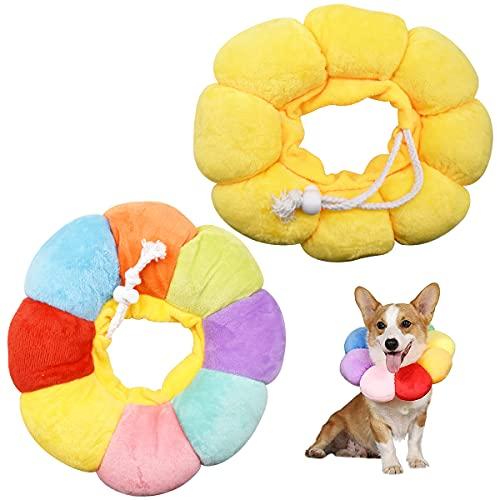 N\C Collar Protector para Mascotas,DBAILY 2pcs Suave Collar Isabelino Gato Perro Amarillo Vistoso Collar de Recuperación para Mascotas para Curar heridas después de la Cirugía de Mascotas(M)