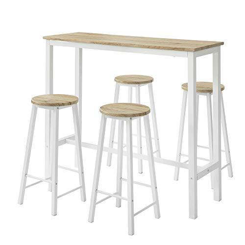 SoBuy Tavolo penisola cucina con sgabelli Tavolino da balcone con sedie stile industrial, L120xP40xA100cm, Carico massimo: 150 kg, (OGT22-WN)