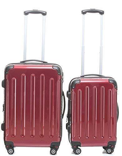 BEIBEY TOP-Preis - Hartschalen-Trolleyset 2-teilig 65 + 55 cm, 4 Rollen, Dehnfalte, Farbe: rot, Trolley - Koffer - Set